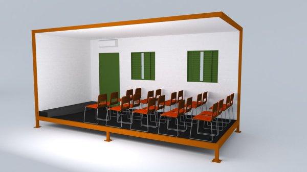 Auditório: pode ser transformado em escritório de obra ou alojamento