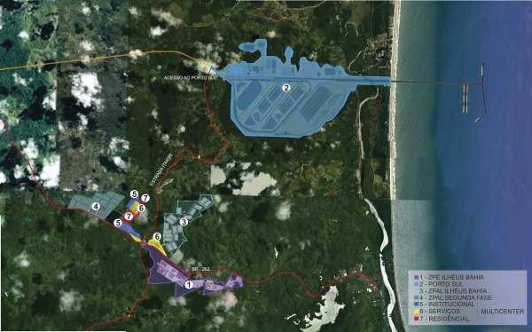 O mapa dos projetos de exportação: a ZPE, o porto e outros empreendimentos. Clique na imagem para ampliar.