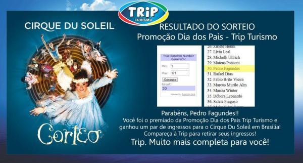 RESULTADO SORTEIO TRIP PAIS