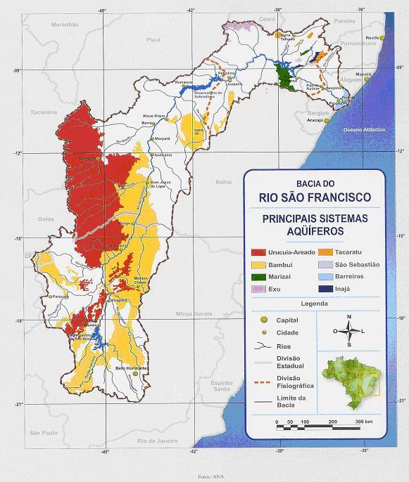 O mapa do Aquífero Urucuia, 120 mil km² de água subterrânea contínua, ao lado de outros grandes aquíferos do Oeste baiano