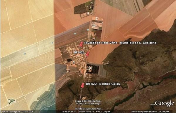 Distrito de Roda Velha, onde estão concentradas as maiores produções de algodão. Imagem Google Earth.