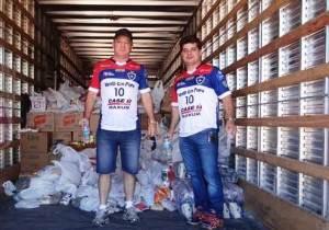 Organizadores do evento, entre eles Lauro Luza e Fábio Lauck, recolheram mais de 30 toneladas de alimentos, que serão doados a entidade beneficente.