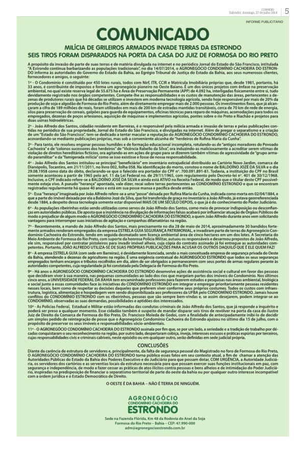 O comunicado do Condomínio Estrondo, publicado neste domingo na grande imprensa de Salvador. Clique na imagem para ampliar.