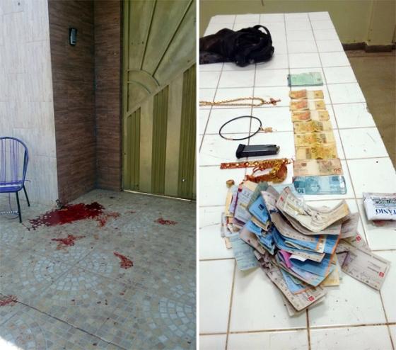 A porta da casa onde aconteceu o confronto e dinheiro, cheques e jóias encontradas com Rogê.