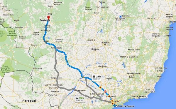 Sorriso a Santos; 2.000 km de custos altos.
