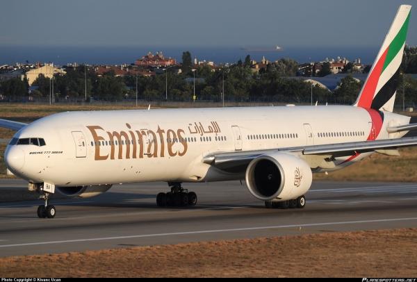 Um 777 da Emirates, semelhante ao envolvido no incidente de hoje.