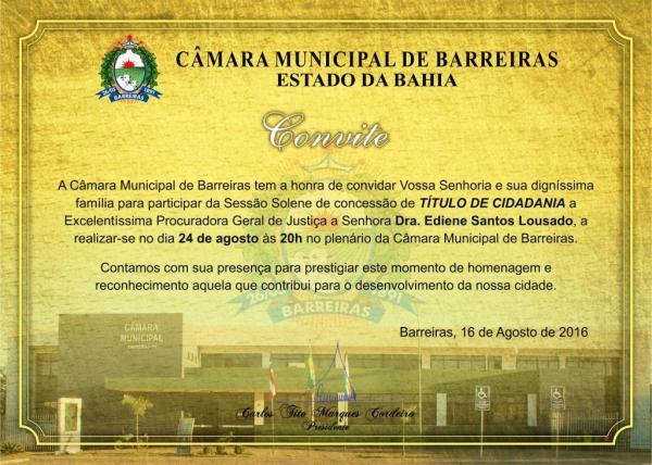 convite TÍTULO DE CIDADANIA