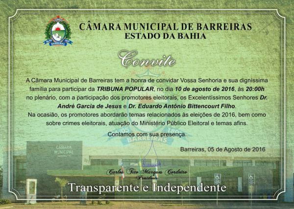 convite TRIBUNA POPULAR promotores eleitorais