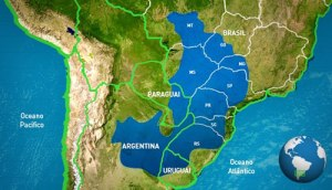 O aquífero, grande mar subterrâneo de águas doces, sob oito estados brasileiros e mais 3 países.