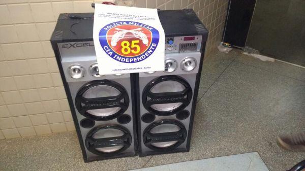 O aparelho de som roubado na Loja Morenta.